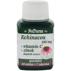 MedPharma Echinacea 100mg Vitamín C + Zinok 30+7 tbl zadarmo