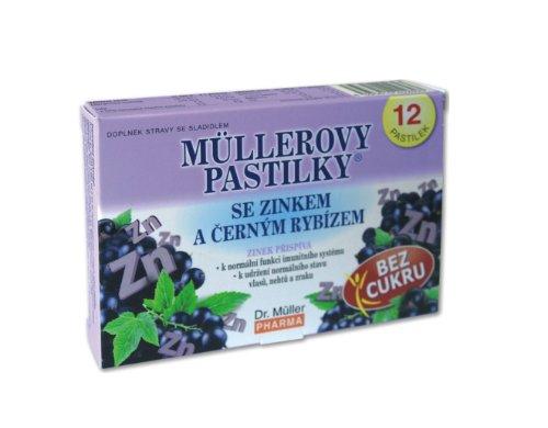 MÜLLEROVE PASTILKY so zinkom a čiernymi ríbezľami bez cukru 12 ks