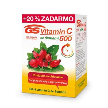 GS Vitamín C 500 so šípkami 100 + 20 tbl