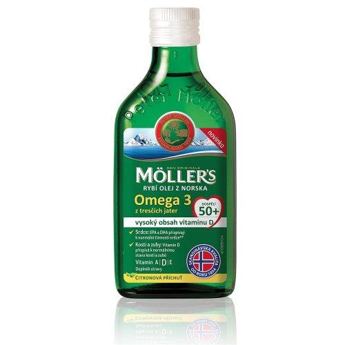 MÖLLER´S Omega 3 50+ olej z tresčej pečene s citrónovou príchuťou 250 ml