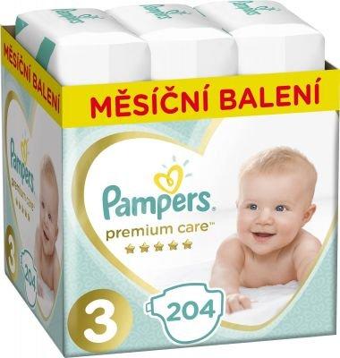 PAMPERS Premium Care 3 MIDI 204 ks (6-10 kg) MESAČNÁ ZÁSOBA