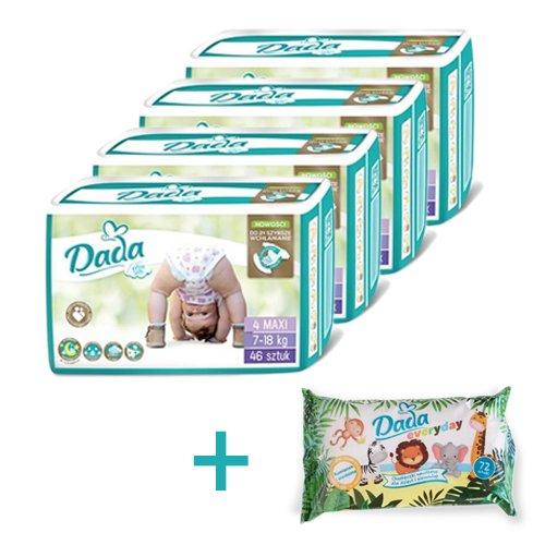 DADA Extra Soft MAXI 4, 4x46 ks + Vlhčené obrúsky