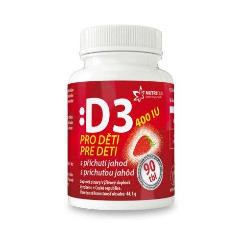 NUTRICIUS Vitamín D3 400IU pre deti - jahoda 90 tbl