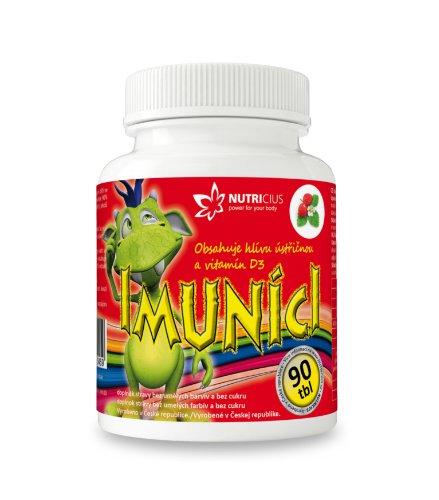IMUNÍCI Hliva ustricová s vitamínom D3 pre deti s jahodovou príchuťou 90 tbl