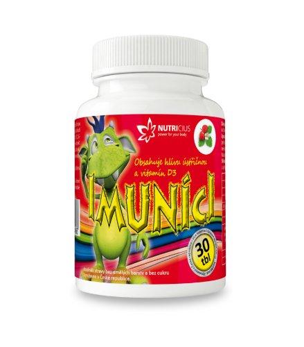 IMUNÍCI Hliva ustricová s vitamínom D3 pre deti s jahodovou príchuťou 30 tbl