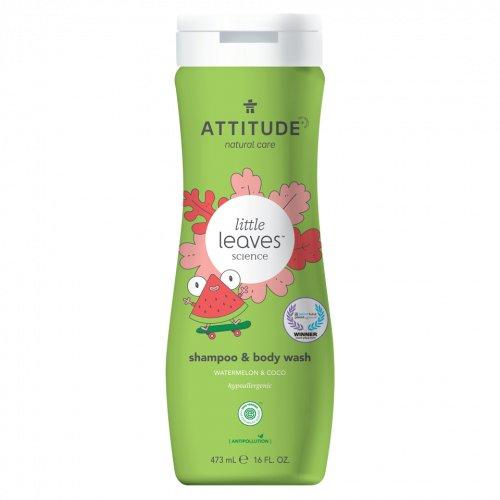 Attitude Detské telové mydlo a šampón (2v1) s vôňou Melónu a Kokosu Little leaves 473ml