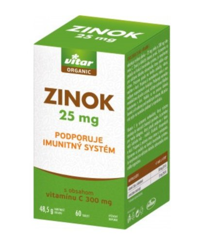 VITAR Organic zinok 25 mg 60 tbl
