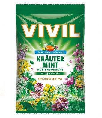 VIVIL BONBONS HUSTEN drops s mentolovo-bylinkovou príchuťou s 23 bylinami bez cukru 60 g