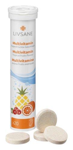 LIVSANE Multivitamín tropické ovocie 20 šumivých tabliet