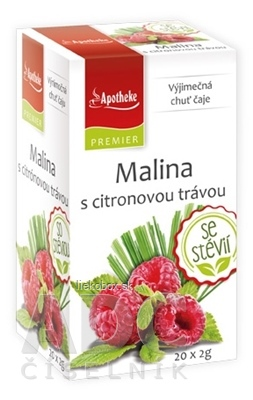 Apotheke Premier ovocný čaj Malina s citrónovou trávou 20x2g nálevových sáčkov